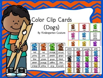 Color Clip Cards -Dogs