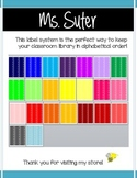 Color Coded Classroom Library Book Spine Labels
