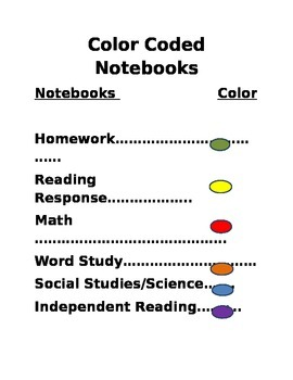 Color Coded Notebooks