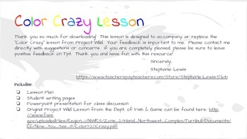Color Crazy Science/ELA lesson & Slide Show (Project Wild