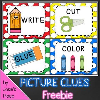 Color, Cut, Glue and  Write Picture Clues  FREEBIE!