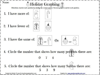 Color, Cut, Sort, and Glue Christmas Graphing and Vocabula
