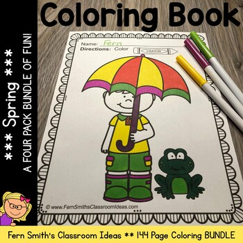 Coloring Pages for Spring A Four Pack Color for Fun Bundle