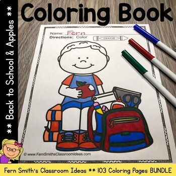 Coloring Pages for Back to School and Apples Bundle