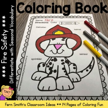 Coloring Pages for Fire Safety with Differentiated Vocabulary