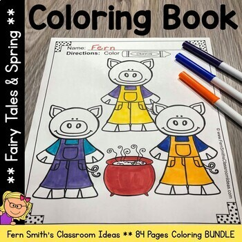 Coloring Pages for Spring and Fairy Tales Bundle