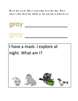 Color Gray Reading Riddles Word Clues Emergent Reader Inte