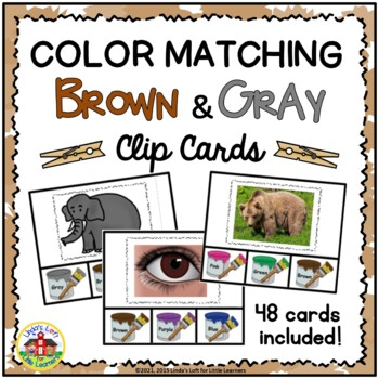 Color Matching Clip Cards: Brown and Gray
