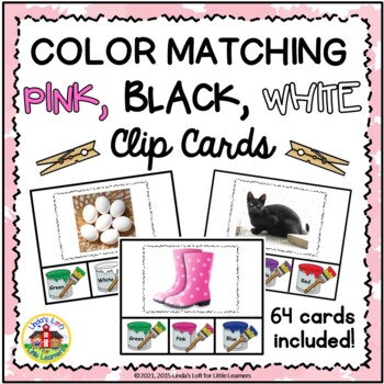 Color Matching Clip Cards: Pink, Black, White