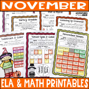 November Reading & Math No Prep Coloring Printables