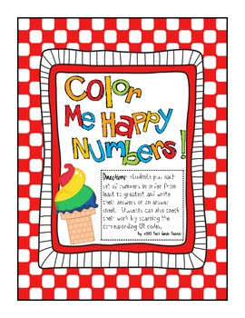 Color Me Happy Number Order with QR Codes Freebie