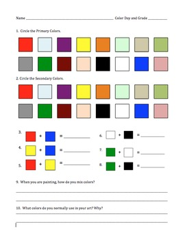 Color Mixing Assessment