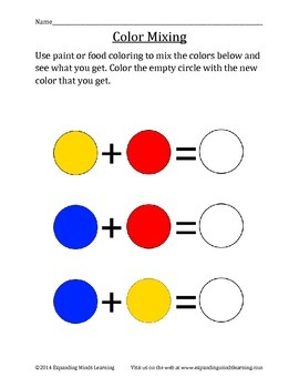 Color Mixing Worksheet - FREE