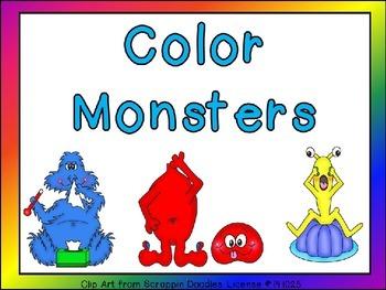 Color Monsters Shared Reading Preschool or Kindergarten Co