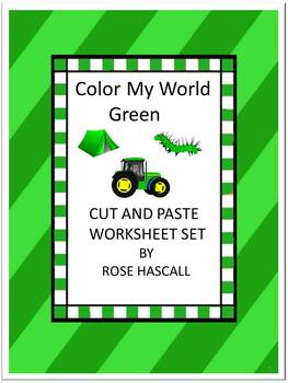 Color My World Green Cut and Paste Worksheets P-K,K, Speci