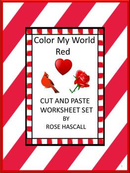 Color My World Red Cut and Paste Math & Literacy Centers W
