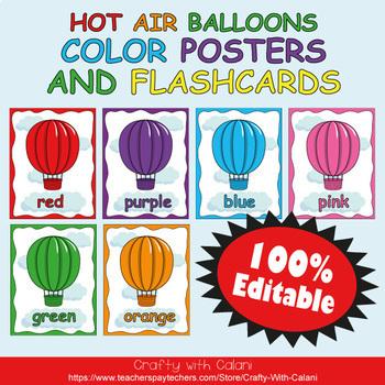 Color Poster Classroom Decor in Hot Air Balloons Theme
