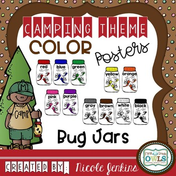 Color Posters Bug Jars Camping Theme