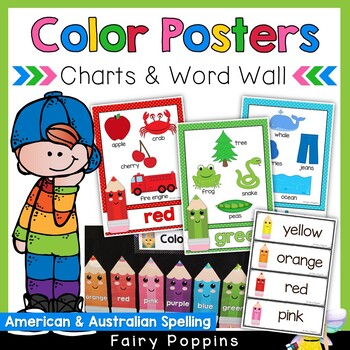 NEW Color Posters, Charts & Word Wall (US & Australian Spelling)