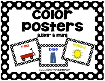 Color Posters Classroom Pack-Black and White Polka Dot