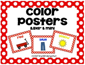 Color Posters Classroom Pack-Red and White Polka Dot