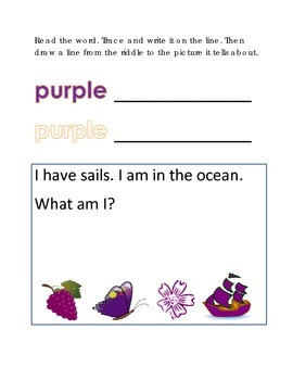 Color Purple Reading Riddles Word Clues Emergent Reader In