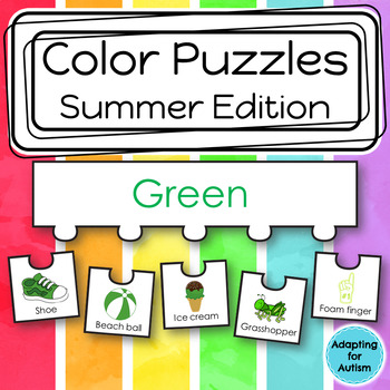 Color Puzzles Work Task: Summer Season (adapted with 3 levels)