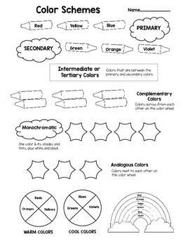 Color Schemes Worksheet to Learn about Color Theory