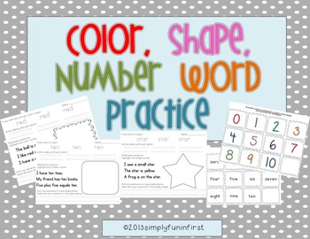 Color, Shape, and Number Word Practice Pages