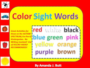 Color Sight Words (116 pages) Special Needs; Autism: Pre-K