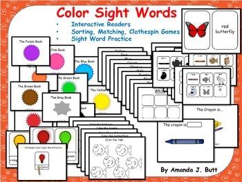 BUNDLE!!! Color Sight Words Interactive Readers; Kindergar