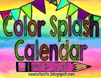 Color Splash Calendar (Watercolor)