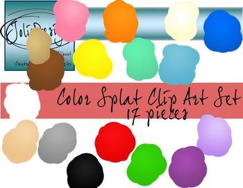 Color Splat Clip Art - 17 pc set
