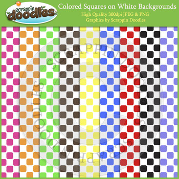 Color Squares on White Backgrounds