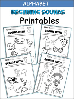 Beginning Sounds Coloring Printables - A to Z