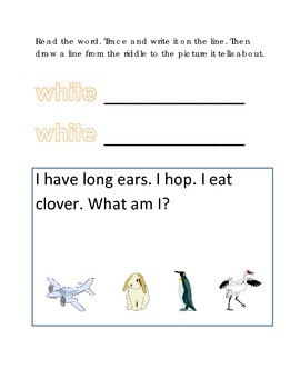 Color White Reading Riddles Word Clues Emergent Reader Int