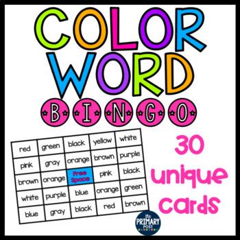Color Word Bingo Class Set