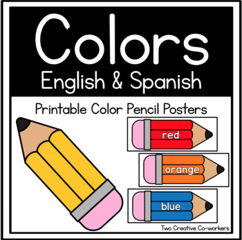 Color Word Cards in English & Spanish {Pencil Themed}
