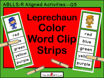 Leprechauns Color Word Clip Strips