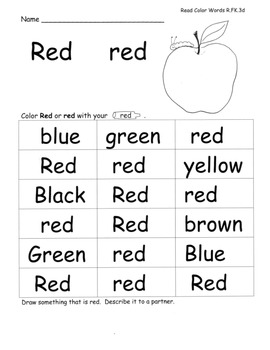 Color Word Colors Speaking Listening Writing from Text wit