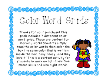 Color Word, Sight Words Grids