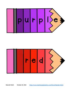 Color Word Paint Chip Pencil Puzzles