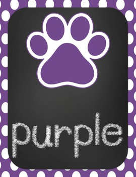 Color Word Poster-Tiger/LSU purple and gold theme-chevron