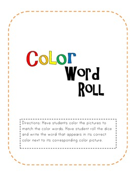 Color Word Roll Activity