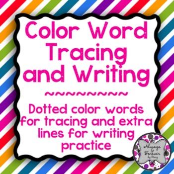Color Word Tracing FREEBIE
