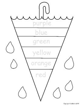 Color Word Umbrella NO PREP Free Sheet