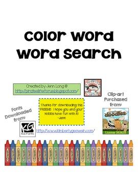 Color Word Wordsearch~FREEBIE!
