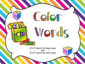 Learning Cube inserts Color Words
