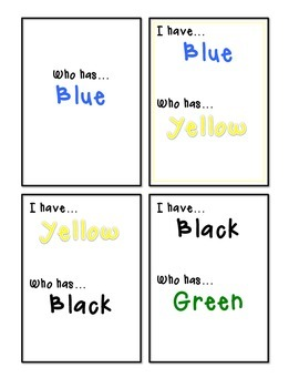 Color Words (Colored Font) I Have, Who Has Game