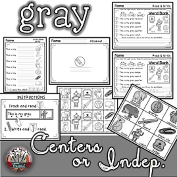 Color Words: GRAY {sight words, simple sentences, vocabula
